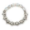 Vintage Inspired Etched Turtle Bead, Crystal Ring & Semiprecious Stone Flex Bracelet - 17cm L