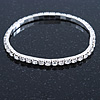 Silver Tone Clear Crystal Delicate One Row Stretch Bracelet - 17cm L