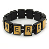 Black Wood 'Nerd' Stretch Icon Bracelet - 18cm L