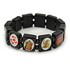 Indian Religious Black Wood 'Ganesh & OM' Stretch Icon Bracelet - 18cm L