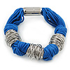 Chunky Blue Multi Cord With Silver Tone Rings Magnetic Bracelet - 17cm L
