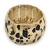 Gold Tone Wide Hammered With Leopard Print Flex Bracelet - 19cm L