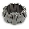 Chunky Dark Grey Polished/ Matte Acrylic Flex Bracelet - 19cm L