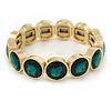 Gold Plated Round Green Glass Stone Flex Bracelet - 18cm L