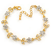 Gold Plated Clear Crystal Daisy Bracelet - 16cm Length/ 5cm Extension