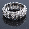 Bridal/ Prom/ Wedding White Simulated Pearl Flex Bracelet In Rhodium Plating - 19cm L