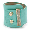 Statement Wide Mint Leather Style with Crystal Closure Bracelet - 18cm L