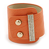 Statement Wide Light Coral Leather Style with Crystal Closure Bracelet - 18cm L