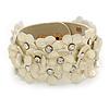 Light Gold Metallic Floral Leather Style Wristband Bracelet - 18cm L