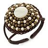 Antique White/ Bronze Shell Bead, Dome Shape Woven Flex Cuff Bracelet - Adjustable