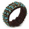 Turquoise Chips, Bronze Bead, Dark Brown Cotton Thread Flex Wire Cuff Bracelet - Adjustable