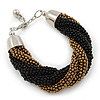 Black/ Bronze Glass Bead Twisted Chunky Bracelet In Silver Tone Metal - 17cm L/ 3cm Ext