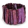 Wide Purple Shell Bar Stretch Bracelet - up to 20cm L