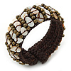 Sea Shell Chips, Bronze Bead, Dark Brown Cotton Thread Flex Wire Cuff Bracelet - Adjustable