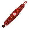 Handmade Boho Style Beaded, Shell Wristband Bracelet (Orange, Red, Hematite) - 18cm L