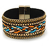 Wide Multicoloured Silk Ribbon, Black Crystal with Chain Detailing Magnetic Bracelet In Gold Tone - 18cm L
