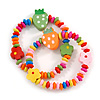 Children's/ Teen's / Kid's Multicoloured Wood Bead with Flowers and Strawberry's Flex Bracelet - Set of 2pcs - Adjustable