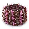 Pink/ Transparent/ Brown/ Cappuccino Cluster Glass Bead Flex Bracelet - up to 18cm L