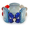 Blue, Red, Cream Floral Resin Stretch Bracelet - up to 20cm L