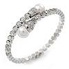 Bridal/ Wedding/ Prom Clear Crystal, White Glass Pearl Flex Bracelet In Rhodium Plating - Adjustable