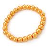 8mm Golden Yellow Pearl Style Single Strand Bead Flex Bracelet - 18cm L