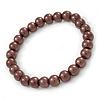 8mm Chocolate Brown Pearl Style Single Strand Bead Flex Bracelet - 18cm L