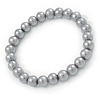 8mm Grey Pearl Style Single Strand Bead Flex Bracelet - 18cm L