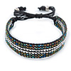 Unisex Peacock/ Silver Glass Bead Friendship Bracelet - Adjustable