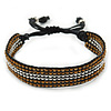 Unisex Brown/ Silver Glass Bead Friendship Bracelet - Adjustable