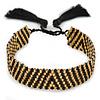Handmade Gold/ Black Glass with Silk Tassel Wristband Bracelet - Adjustable