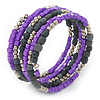 Purple/ Grey Stone Bead Multistrand Coiled Flex Bracelet Bangle - Adjustable