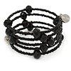 Multistrand Black Glass Bead Flex Bracelet - Adjustable