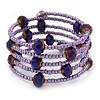 Multistrand Metallic Purple/ Violet Glass Bead Flex Bracelet - Adjustable