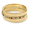 Indian Style Multicoloured Crystal Textured Bangle Set of 5 In Gold Tone - 19cm L
