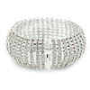Statement 12 Row Clear Austrian Crystal Domed Bracelet with Tongue Clasp In Silver Tone - 20cm L
