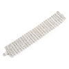 Statement 9 Row Austrian Crystal Bracelet with Tongue Clasp In Silver Tone - 18cm L