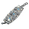 Handmade Cream/ Grey Faux Pearl, Jewelled, Fabric Wristband Bracelet - 15cm L/ 4cm Ext