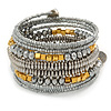 Metallic Silver Glass, Silver & Gold Tone Acrylic Bead Coiled Flex Bracelet - Adjustable