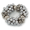 Chunky Light Grey Glass Pearl, Anthracite Coloured Crystal Bead Flex Bracelet -18cm L