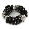 Chunky Black Ceramic, Grey Crystal Bead Flex Bracelet - up to 18cm L