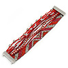 Silver/ Red/ Carrot/ Burgundy Glass Bead, Silk Cord Handmade Magnetic Bracelet - 18cm L
