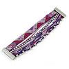 Silver/ Purple/ Pink/ Fuchsia Glass Bead, Silk Cord Handmade Magnetic Bracelet - 18cm L