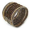 Boho Brown/ Metallic Silver/ Gold Glass & Acrylic Bead Cuff Bracelet - Adjustable (To All Sizes)