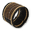 Boho Brown/ Black/ Gold Glass & Acrylic Bead Cuff Bracelet - Adjustable (To All Sizes)