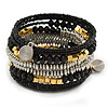 Jet Black Glass, Silver & Gold Tone Acrylic Bead Coiled Flex Bracelet - Adjustable