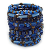 Wide Coiled Ceramic, Acrylic, Glass Bead Bracelet (Blue, Brown) - Adjustable