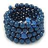 Dark Blue Glass Bead Coiled Flex Bracelet - Adjustable