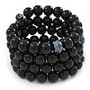 Jet Black Glass Bead Coiled Flex Bracelet - Adjustable