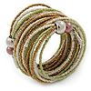 Multistrand White/ Bronze/ Lime Green Glass Bead Wrap Flex Bracelet - 19cm L