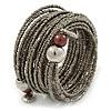 Multistrand Metallic Grey Glass Bead Wrap Flex Bracelet - 19cm L